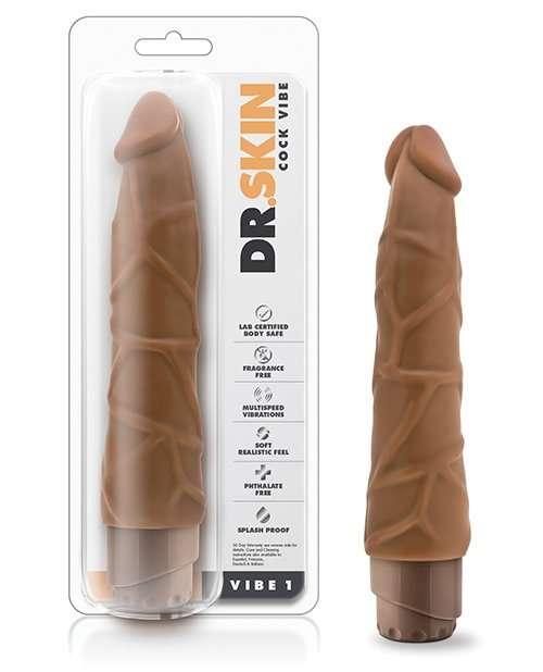 "Blush Dr. Skin 9"" Cock Vibe 1 - Mocha"