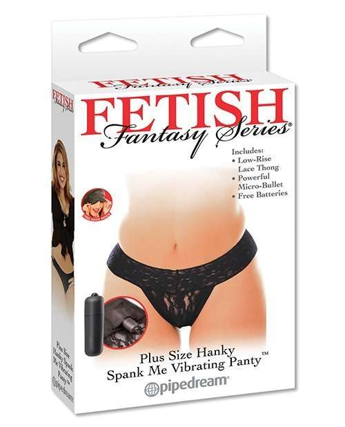 Fetish Fantasy Series Hanky Spank Me Plus Size Vibrating Panties - Black