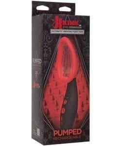 Kink Pumped Rechargeable Automatic Vibrating Pussy Pump - Black/Red