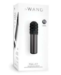 Le Wand Chrome Bullet Rechargeable Vibrator w/Silicone Textured Ring - Black