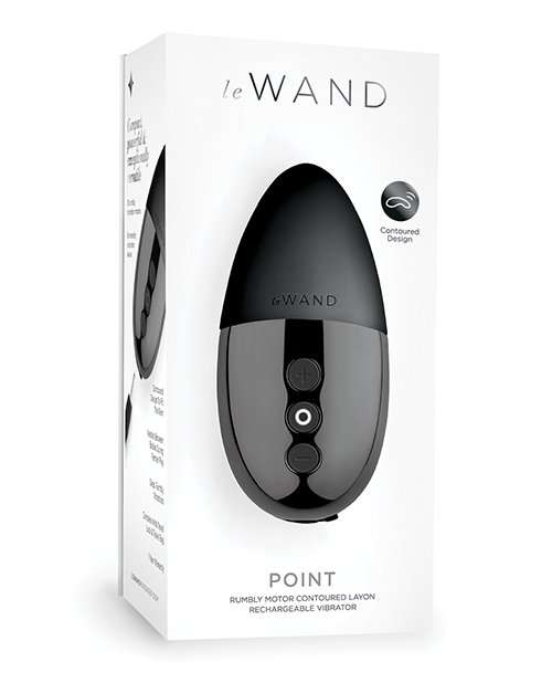 Le Wand Chrome Point Rumbly Motor Contoured Layon Rechargeable Vibrator - Black