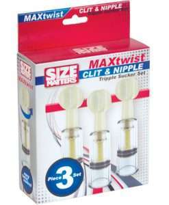 Size Matters Max Twist Triplets Nipple and Clit Suckers - Clear