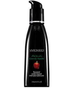 Wicked Sensual Care Aqua Water Based Lubricant - 4 oz Candy Apple