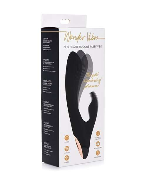 Wonder Vibes 7x Bendable Silicone Rabbit Vibe  - Black
