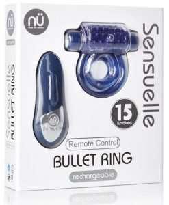 Nu Sensuelle Remote Control Rechargeable Bullet Ring - Blue