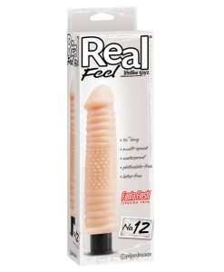 "Real Feel No. 12  Long 10"" Vibe Waterproof - Mutli-speed Flesh"