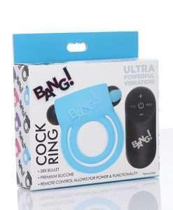 Bang! Vibrating Cock Ring & Bullet w/Remote Control - Blue