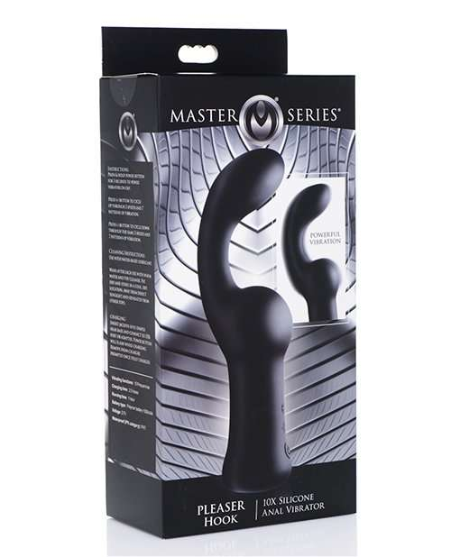 Master Series Pleaser Hook 10x Silicone Anal Vibrator - Black