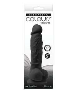 "Colours Pleasures 5"" Vibrating Dildo - Black"